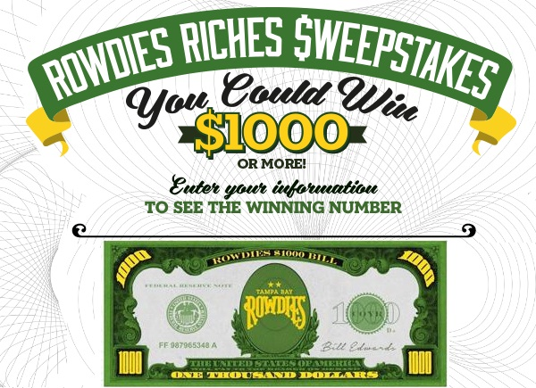 Rowdies riches sweepstakes 2018