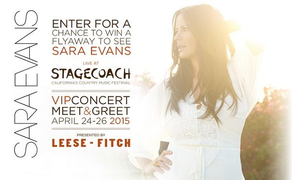 Sara evans stage coach sweepstakes sweepstakesbible want meet and greet sara evans here in sara evans stage coach sweepstakes you have chance to win a flyaway to see her live at stagecoach festival in indio m4hsunfo