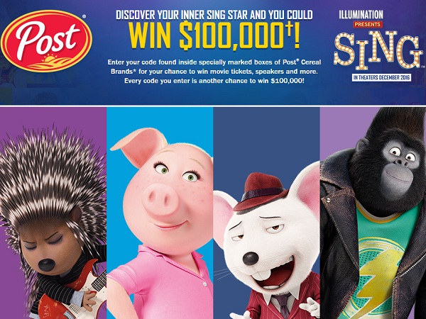 Win $100,000 cash in Post - Sing Sweepstakes
