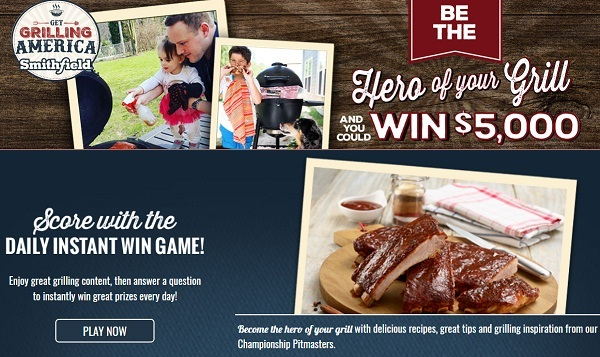 Smithfield Grilling Hero Sweepstakes and Instant Win Game