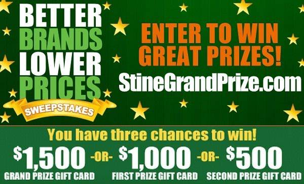 Stine is giving you three chances to win $500, $1000 or $1500 Gift Card for backyard  makeover. - Win $3000 Backyard Makeover In Better Brands Lower Prices