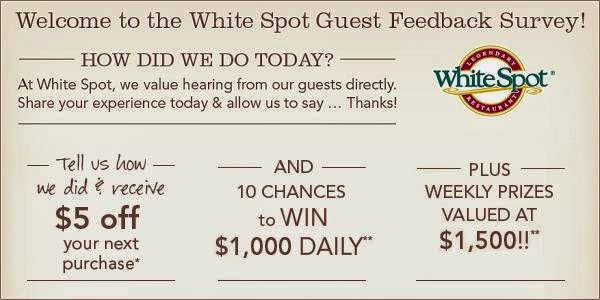 Talk to White Spot Guest Feedback Survey Sweeps