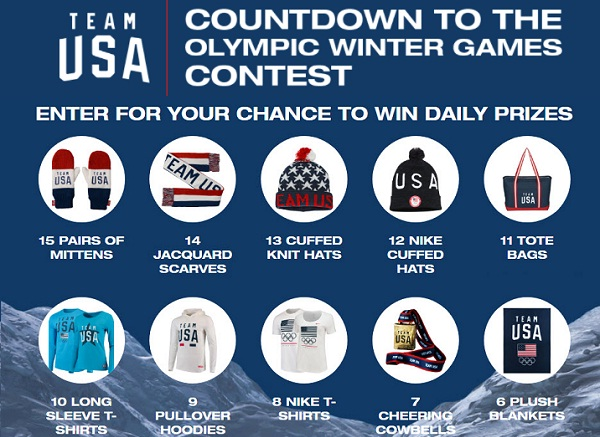 Contests and sweepstakes 2018 olympics
