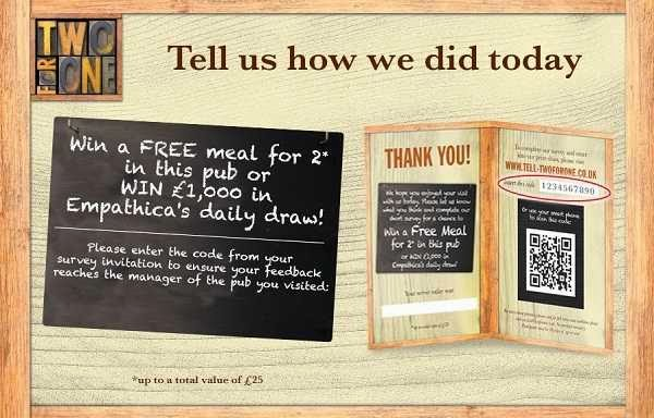 Tell in Two For One Survey Sweeps to Win £1K or Free Meal