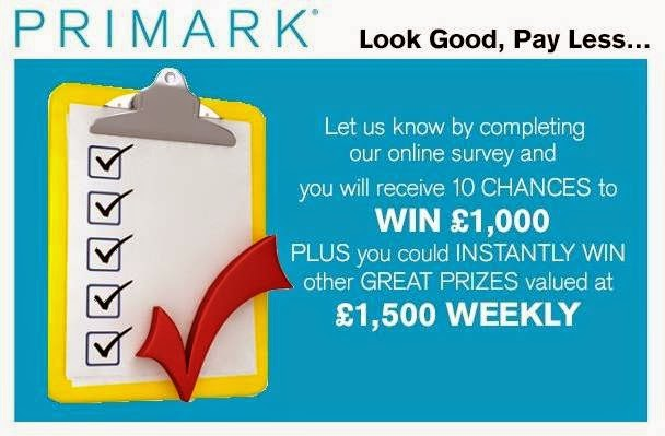 Tell Penneys Primark in Survey Sweepstakes: Win £1,000 Daily or £1,500 Weekly