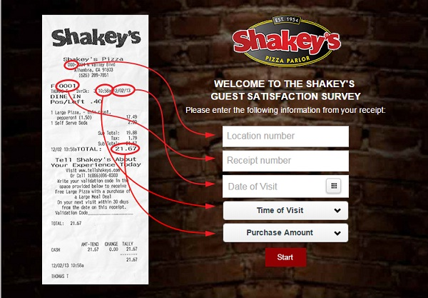 Tell Shakeys Feedback in Survey to Get Validation Code for Free Pizza