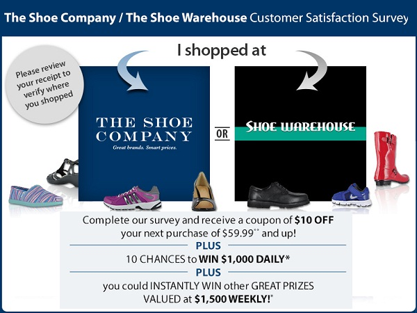 Shoe Company Customer Satisfaction Survey: Win $1000 daily & $1500 Weekly