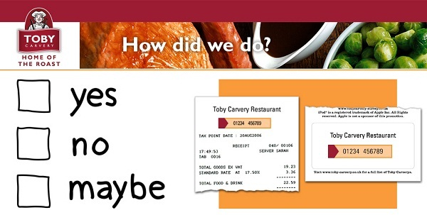 Tell your feedback at Toby Carvery Survey to win $1000