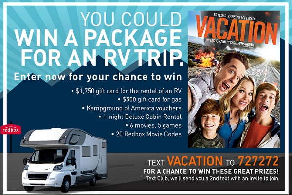 Win a Bumper Prize Package worth $3200 in Redbox Vacation Sweepstakes