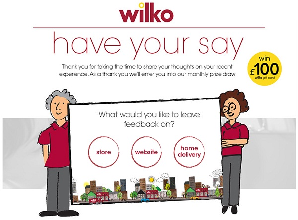 Tell Wilkinson in Survey Sweeps to win  £100 Wilko gift card monthly