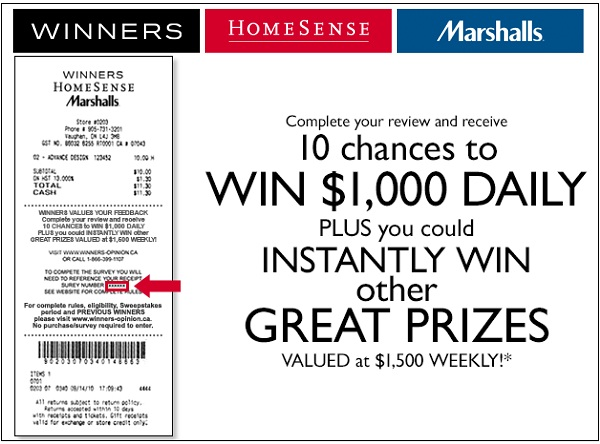 Share Winners Store Opinion in Survey to Win $1000 Daily and $1500 Weekly