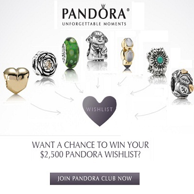 Win $2,500 Shopping spree at Pandora store to fulfill your Wish List